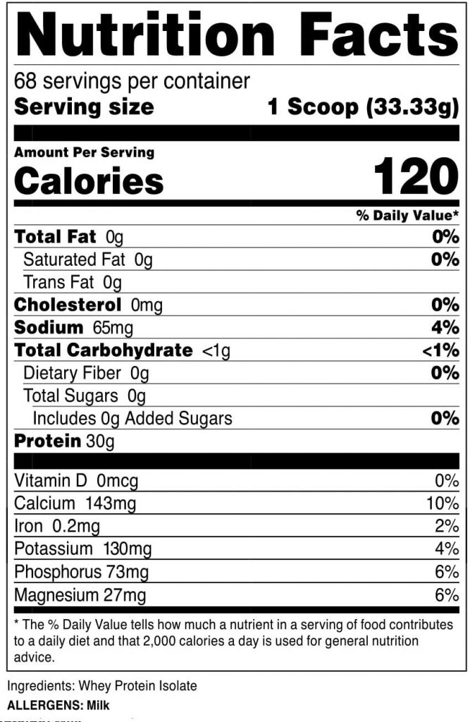 Nutricost nutrition label
