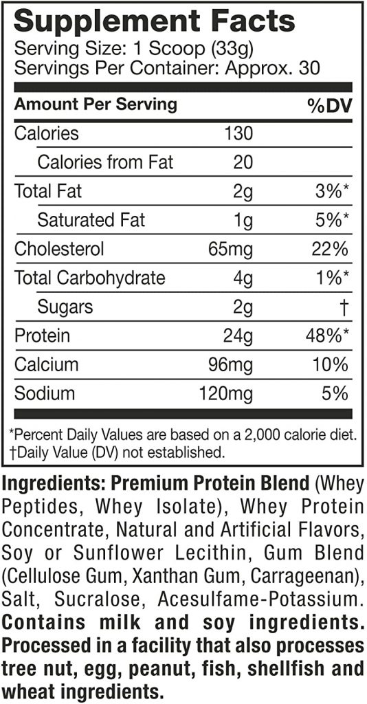 Muscletech Protein Nutrition Label