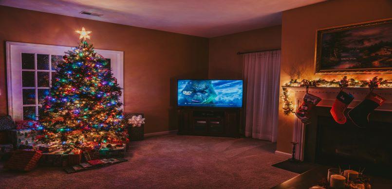 Christmas tree and TV